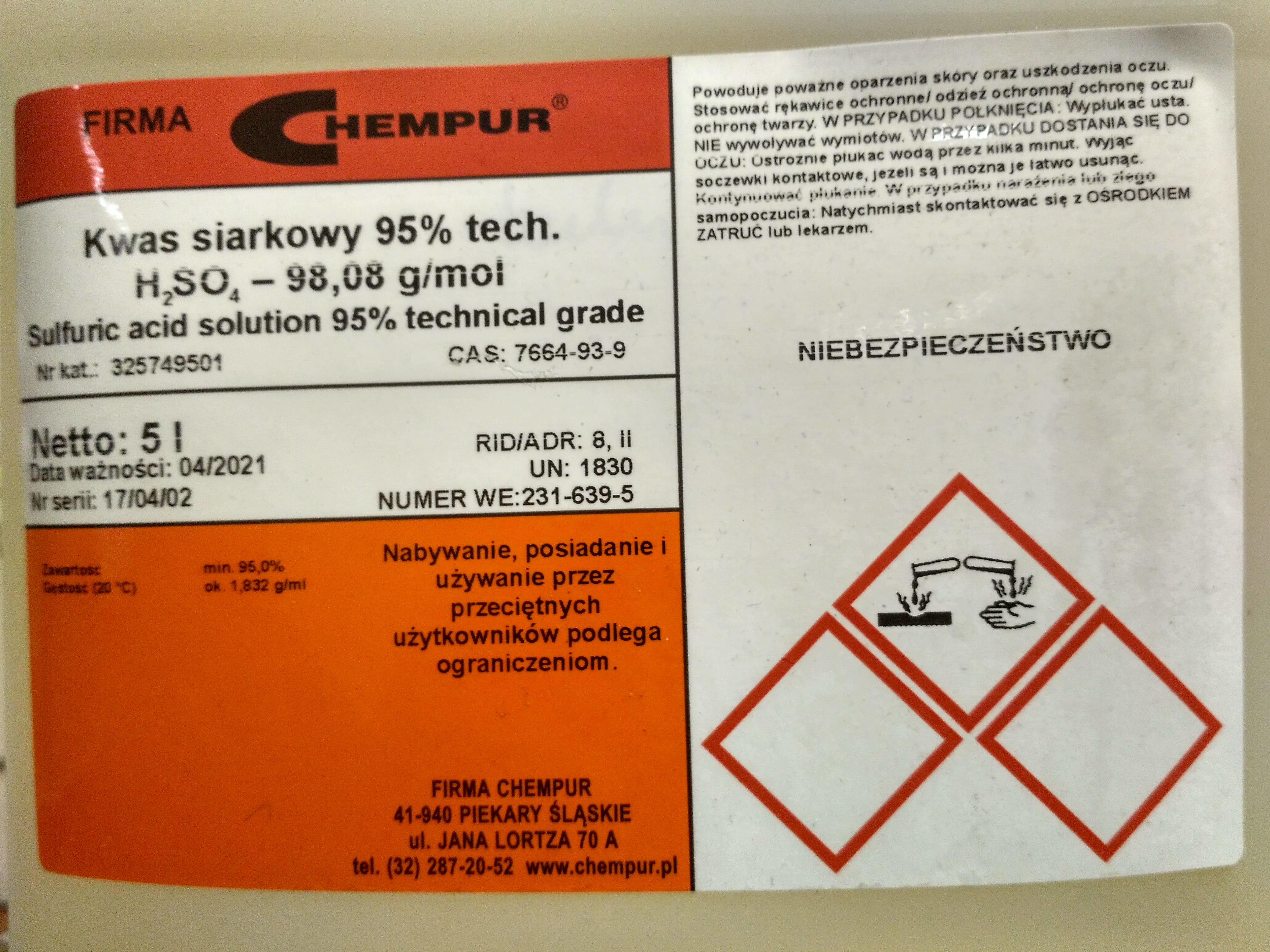 Sulfuric acid solution 95% technical grade